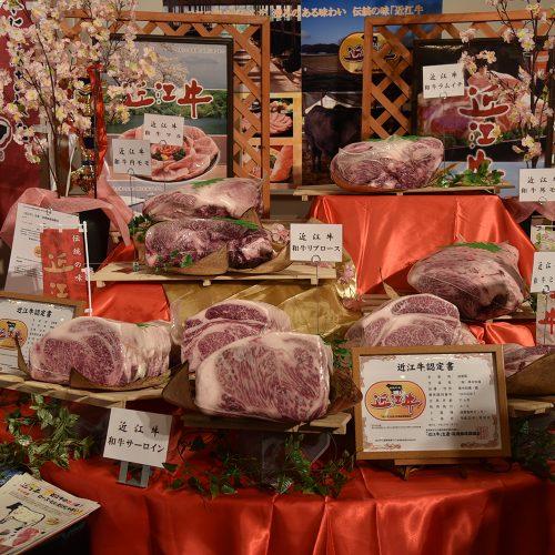 滋賀県が誇る銘柄牛、近江牛の展示コーナー